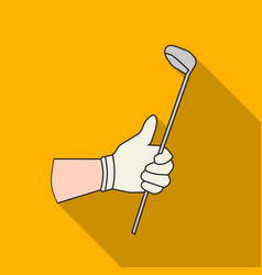 Holding of a golf club icon in flat style isolated vector