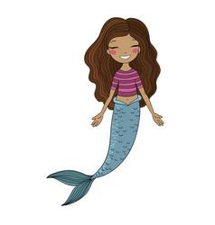 African american mermaid siren sea theme vector
