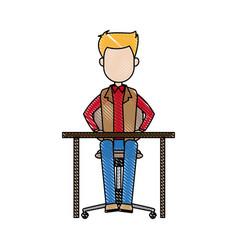 Man sitting business office desk chair vector