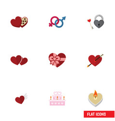 Flat icon amour set of key fire wax soul and vector