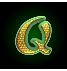 Golden and green letter q vector