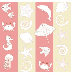 Seamless striped pattern with sealife vector image