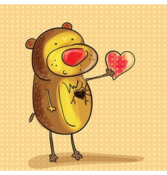 Bear with heart vector