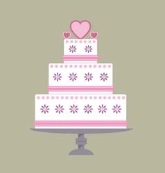 Wedding cake pink ribbon vector image