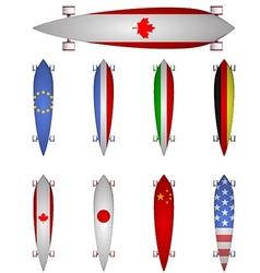 World flags longboards vector