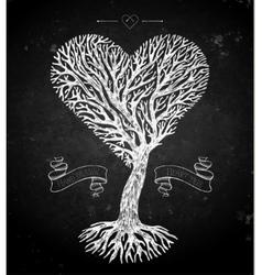 Tree crown like heart on black vector