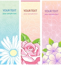Beautiful vertical floral banners set vector