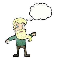 Cartoon man with beard waving with thought bubble vector