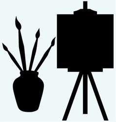 Brushes in vase and easel with empty canvas vector