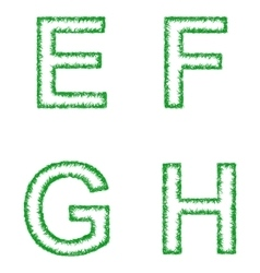 Green grass font set - letters e f g h vector