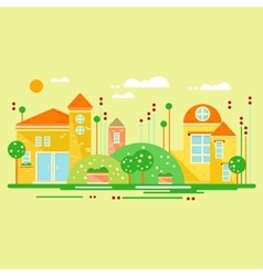 Landscape with cute little houses vector