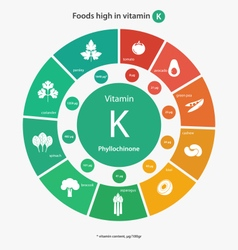 Foods high in vitamin k vector