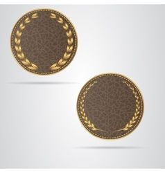 Two brown round leather vip tag with gold laurel vector
