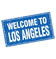 Los angeles blue square grunge welcome to stamp vector