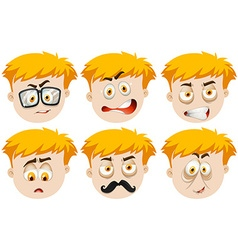 Boy with many facial expressions vector