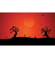 Silhouette of dry tree tomb halloween vector