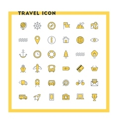 Travel and transportation flat design icon set vector