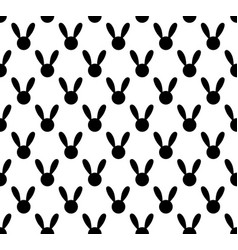 black rabbit seamless on white background vector image