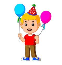 boy holding balloons vector image vector image