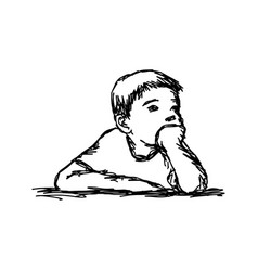 Boy thinking with resting chin vector