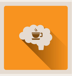 brain thinking of a cup of coffee on yellow vector image