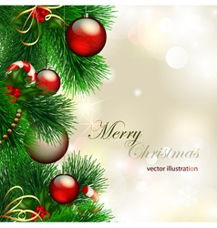 christmas background with decorated christmas tree vector image