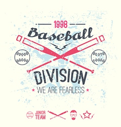 College baseball division emblem vector