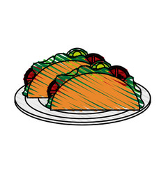 Color crayon stripe cartoon tacos on plate mexican vector