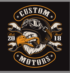 Eagle biker t-shirt design color version vector