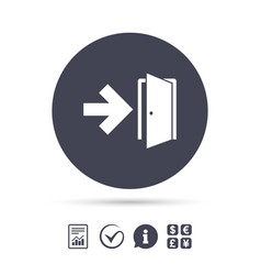 Emergency exit sign icon door with right arrow vector