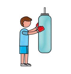 Ethlete practicing boxing avatar vector