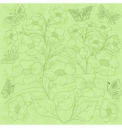 Flowers and butterflies green background vector image