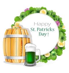 Glass of green beer and wooden barrel vector
