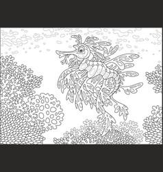 leafy sea dragon on a coral reef vector image vector image