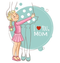 Little girl embraces her mother vector image vector image