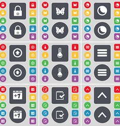 Lock butterfly moon arrow up thermometer apps plus vector