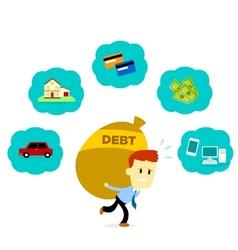 Man with His Debt vector image