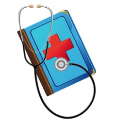 medical book and stethoscope vector image