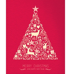 Merry christmas happy new year pine tree deer card vector image vector image