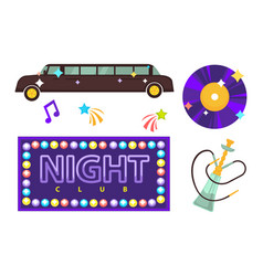 Night club or disco party flat icons vector