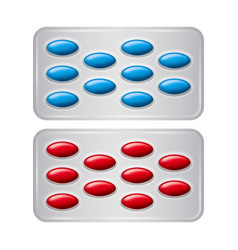 set of package of pills group of realistic red vector image vector image