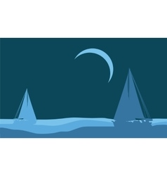 Silhouette of beautiful ship scenery vector