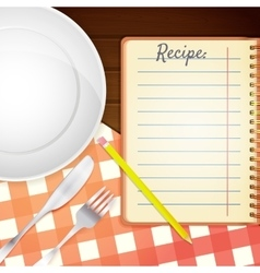 Template for a cookbook plate fork and knife vector