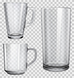 Transparent glass cups and one glass for juice vector image vector image