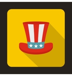 Uncle sam hat icon flat style vector