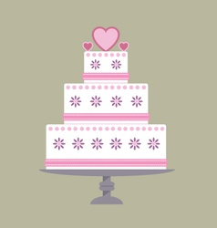 Wedding cake pink ribbon vector