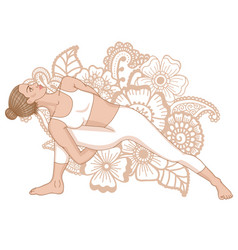 women silhouette fully bound side angle yoga pose vector image vector image