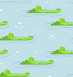 Crocodile in water seamless pattern large vector