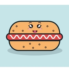 hot dog fast food facial expression icon design vector image