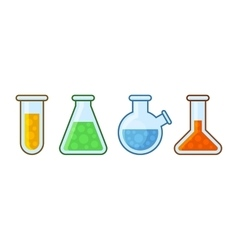 Chemical laboratory equipment icons set on white vector